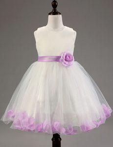 Dynamic Sleeveless Zipper Knee Length Beading and Hand Made Flower Toddler Flower Girl Dress