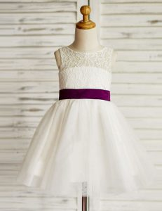Suitable Scoop White Sleeveless Lace and Bowknot Mini Length Flower Girl Dresses for Less