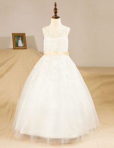 Great Scoop Lace and Sashes ribbons Flower Girl Dresses White Zipper Sleeveless Floor Length