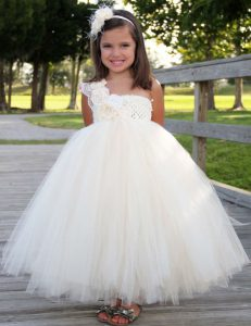 Dynamic One Shoulder Ankle Length A-line Sleeveless White Flower Girl Dresses Zipper