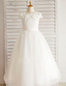 White A-line Scoop Short Sleeves Tulle Floor Length Zipper Beading and Appliques Flower Girl Dresses for Less