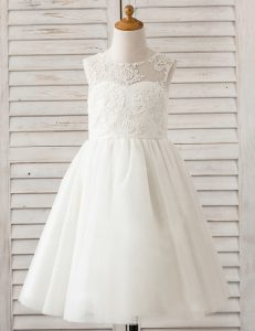 Adorable Scoop Sleeveless Lace Clasp Handle Flower Girl Dresses for Less