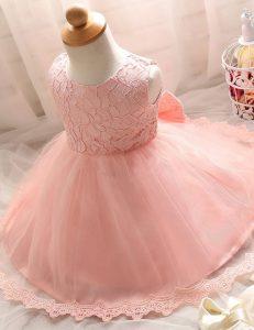 Baby Pink Scoop Zipper Lace Toddler Flower Girl Dress Sleeveless
