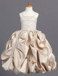 Pick Ups Spaghetti Straps Sleeveless Zipper Flower Girl Dresses for Less Champagne Taffeta