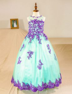 Dramatic Scoop Sleeveless Floor Length Beading and Lace and Appliques Zipper Flower Girl Dress with Turquoise