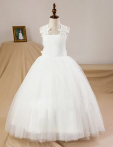 Luxury Tulle Sleeveless Floor Length Toddler Flower Girl Dress and Lace and Appliques