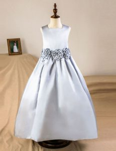 Excellent Square Sleeveless Zipper Flower Girl Dresses for Less Silver Satin