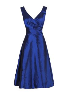 Navy Blue V-neck Zipper Sashes ribbons Sleeveless