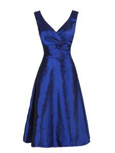 Navy Blue V-neck Zipper Sashes ribbons Sleeveless