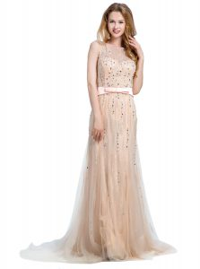 Scoop With Train Column/Sheath Sleeveless Champagne Prom Evening Gown Brush Train Backless