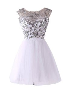 White Scoop Neckline Sequins Homecoming Dress Cap Sleeves Backless