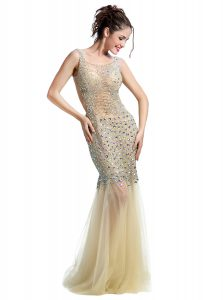 Mermaid Champagne Square Neckline Beading Prom Gown Sleeveless Backless