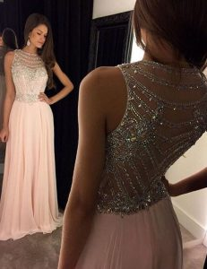Fantastic Scoop Sleeveless Brush Train Side Zipper With Train Beading Evening Party Dresses