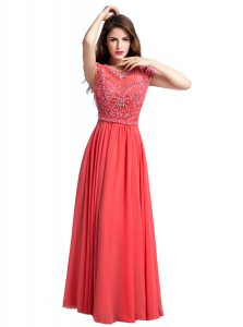 Glorious Floor Length Watermelon Red Homecoming Dress Scoop Cap Sleeves Zipper