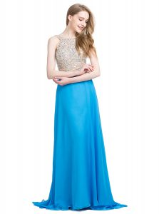 Sexy Scoop Sleeveless With Train Beading Zipper Prom Dress with Blue Brush Train