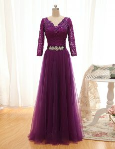 Floor Length Empire 3 4 Length Sleeve Purple Lace Up
