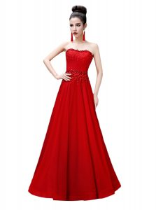 Luxury Floor Length Red Prom Party Dress Strapless Sleeveless Lace Up