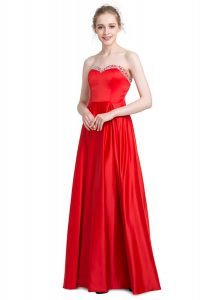Floor Length Empire Sleeveless Red Glitz Pageant Dress Zipper
