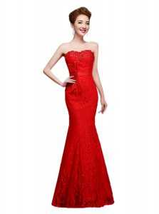 Luxurious Mermaid Lace Evening Dress Red Lace Up Sleeveless Floor Length