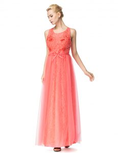 Customized Watermelon Red Scoop Zipper Beading and Bowknot Evening Party Dresses Sleeveless