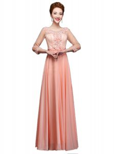 Comfortable Scoop Peach 3 4 Length Sleeve Floor Length Beading Zipper Evening Dress