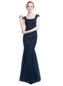 Modern Mermaid Navy Blue Cap Sleeves Floor Length Beading Zipper Prom Gown