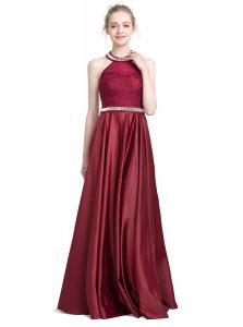 Chic Taffeta Halter Top Sleeveless Zipper Beading and Lace Party Dress in Burgundy