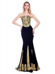 New Arrival Black Mermaid Appliques Prom Dress Zipper Satin Sleeveless With Train