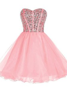 Pink Sleeveless Beading and Ruffled Layers Mini Length Dress for Prom