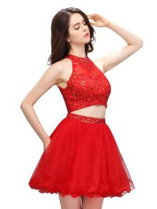 Admirable High-neck Sleeveless Zipper Prom Dress Coral Red Organza
