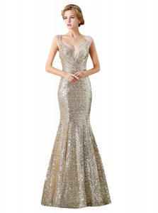 Sequins Mermaid Prom Dress Champagne V-neck Sequined Sleeveless Floor Length Zipper