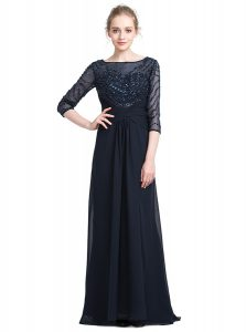 Affordable 3 4 Length Sleeve Zipper Floor Length Beading Prom Gown