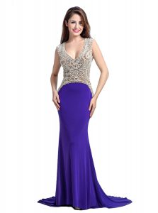 Affordable Purple Sleeveless With Train Beading Backless Prom Dresses