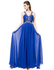 Custom Fit Royal Blue Sleeveless With Train Beading Criss Cross Dress for Prom