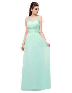 Turquoise Scoop Zipper Ruching Prom Evening Gown Sleeveless