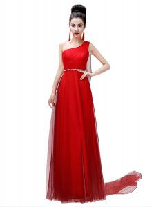 Cute One Shoulder Sashes ribbons and Belt Coral Red Side Zipper Sleeveless Floor Length