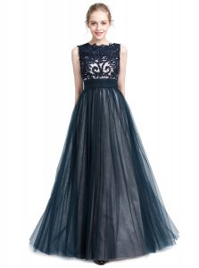 Scalloped Navy Blue Zipper Mother Of The Bride Dress Beading and Lace Sleeveless Floor Length