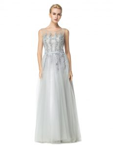 Clearance Scoop Sleeveless Tulle Mother Of The Bride Dress Appliques Zipper