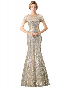 Mermaid Scoop Champagne Sequined Zipper Evening Dress Sleeveless Floor Length Sequins