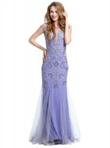 Mermaid Scoop Cap Sleeves Floor Length Beading Side Zipper Homecoming Dress with Lavender