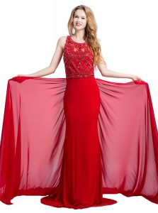 Designer Red Silk Like Satin Zipper Scoop Sleeveless With Train Prom Dress Court Train Beading