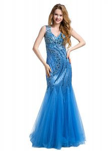 Mermaid Baby Blue Tulle Zipper Evening Dress Sleeveless Floor Length Beading and Appliques