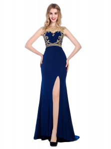 High-neck Sleeveless Prom Dress With Train Sweep Train Beading and Appliques Navy Blue Silk Like Satin