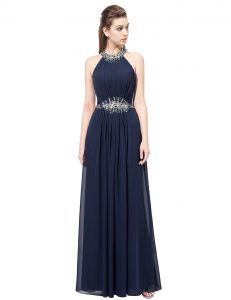 Edgy Navy Blue Chiffon Side Zipper Scoop Sleeveless Floor Length Prom Dress Beading
