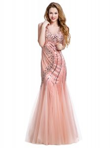 Fashionable Peach Mermaid Tulle V-neck Sleeveless Beading Floor Length Lace Up Prom Party Dress
