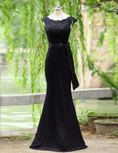 Mermaid Scoop Black Lace Zipper Prom Evening Gown Sleeveless Floor Length Lace