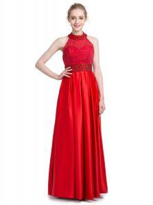 Elegant Red Taffeta Zipper Halter Top Sleeveless Floor Length Mother Of The Bride Dress Beading