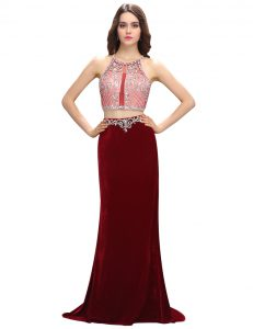 On Sale Scoop Sleeveless Mother Of The Bride Dress With Train Sweep Train Beading and Appliques Burgundy Elastic Woven S