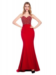 Mermaid Sleeveless With Train Beading Zipper Prom Party Dress with Wine Red Sweep Train