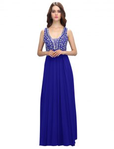 Glamorous Floor Length Zipper Royal Blue for Prom and Party with Beading